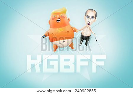 Helsinki, Finland, 18 July 2018 - Illustration For Us President Declaring Admiration For Ex-kgb And