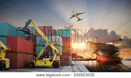 Business Logistics And Transportation Concept Of Container Cargo Ship And Cargo Plane With Working C