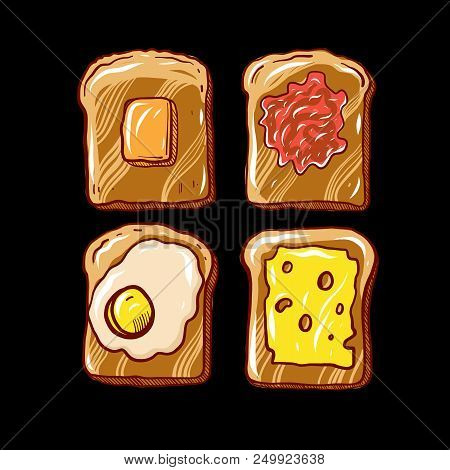 Breakfast Toast Hand Drawn Vector Illustration Isolated On Background.