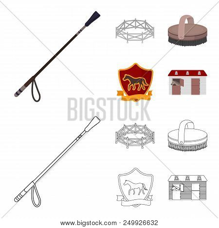 Aviary, whip, emblem, hippodrome .Hippodrome and horse set collection icons in cartoon, outline style vector symbol stock illustration . poster