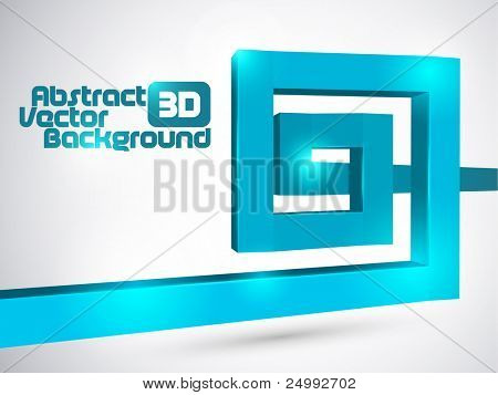 Abstract blue 3D square spiral background
