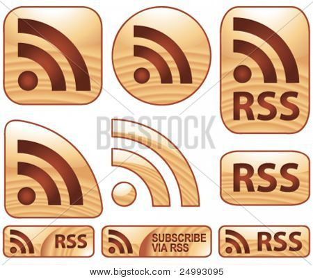 Vector Shiny Glossy Wooden RSS Set of 9 Icons & Buttons