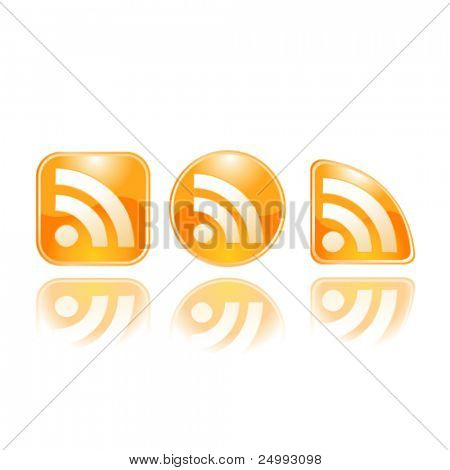 Vector Wavy Glow RSS Set of 3 Icons with Reflection