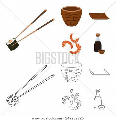 Sticks, Shrimp, Substrate, Bowl.sushi Set Collection Icons In Cartoon, Outline Style Vector Symbol S