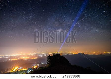 Night Landscape Mountain And Milky Way  Galaxy Background And Man Traveller Tourism  Standing  On To