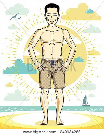 Handsome Man Adult Standing On Tropical Beach In Bright Shorts. Vector Nice And Sporty Man Illustrat