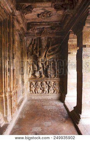 Cave 2: A sculpture depicting Vishnu as Trivikrama, Badami Caves, Karnataka, India. Interior right side wall. poster