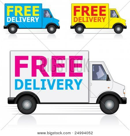 Vector free delivery van icons with male driver silhouette