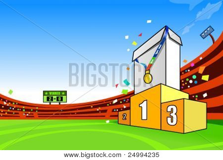 Product on the top of the podium. Remove the blank box and add your own one on it. Clear copy space to add advertising message.Easy selection of each element