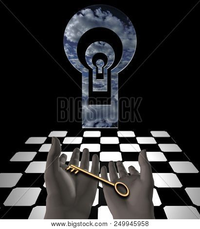 Key in human hands. Mystic keyholes and checkered floor. 3D rendering