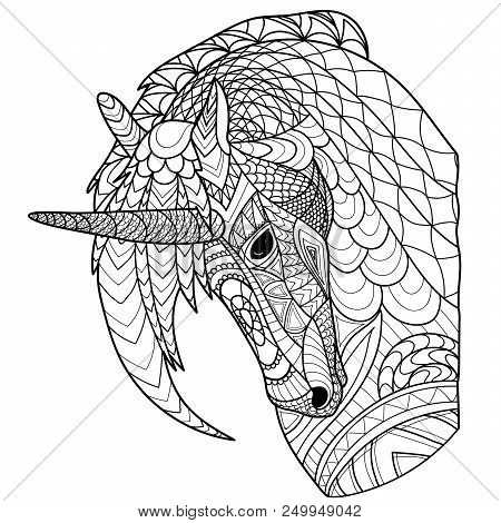 Unicorn Line, Coloring Page, Coloring Book, Vector, Pattern