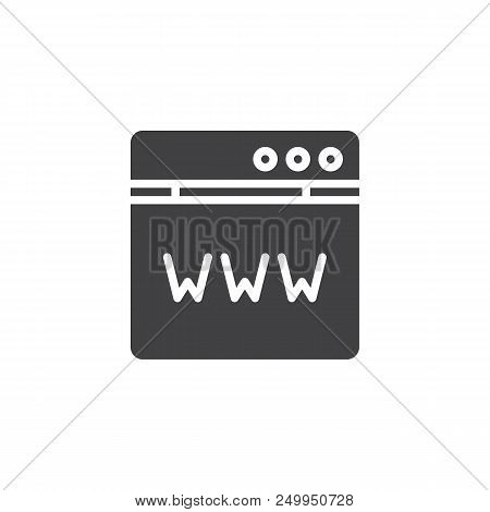 Domain Registration Vector Icon. Filled Flat Sign For Mobile Concept And Web Design. Www Browser Sim