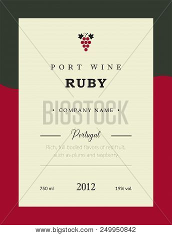 Port Wine Label. Vector Premium Template Set. Clean And Modern Design. Ruby And Red Wine. National P