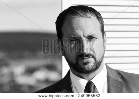 Businessman wears smart suit and tie on wooden wall and nature background. Leader with beard and serious face thinks about business. CEO searches for compromise. Negotiation and business concept poster