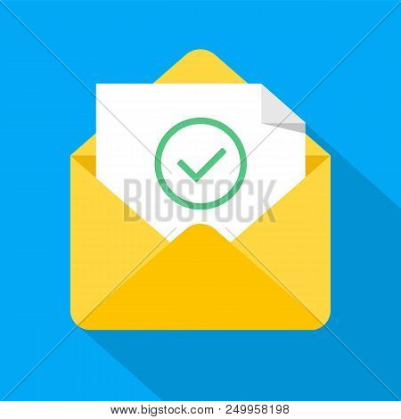 Envelope with document and round green check mark icon. Successful e-mail delivery, email delivery confirmation, successful verification concepts. New modern flat design vector icon. EPS 10