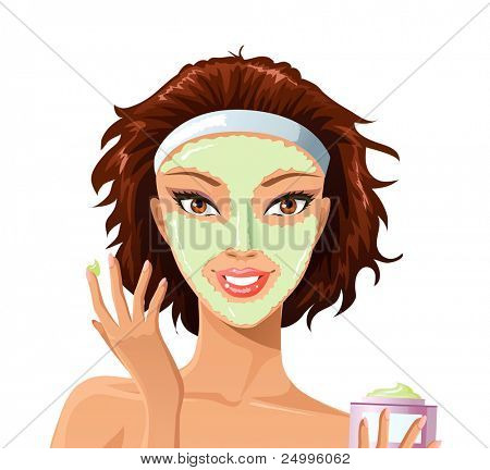 Beautiful female applying facemask