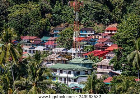 Aerial View Over The Old Neighborhood In Golfito, Costa Rica.