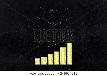 Business Results Analysis Conceptual Illustration: Investment Deal With Successful Positive Growth S