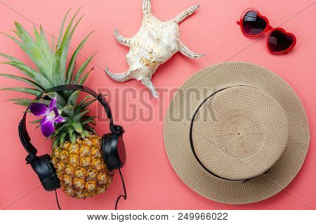 Flat Lay Objects The Accessory For Travel Summer Holiday & Music Background Concept.table Top View O
