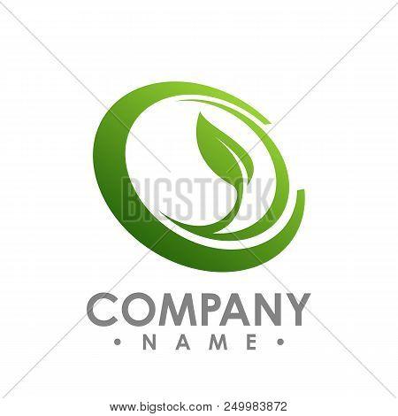 Nature Logo For Health Company Icon Concept. Circle Leaf Logo Concept Design. Creative Circle Logo C