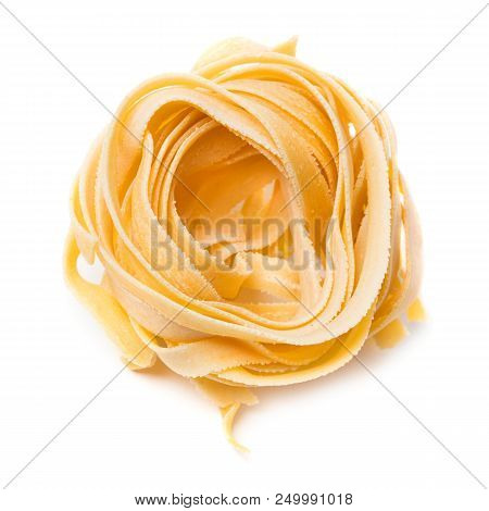 Bunch Of Raw Home-made Noodles Isolated On White Background