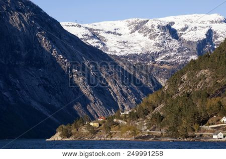 View At The Hardangerfjord Near The Norwegian Village Eidfjord