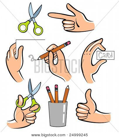 Hands. Vector  illustration. Useful for the instruction how to create sth.