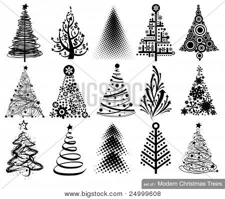 Set of Modern Christmas Trees. 15 designs in one file.