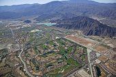 Aerial view of La Quinta, California and surrounding Coachella valley poster