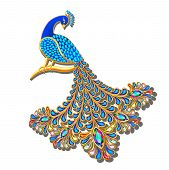 Illustration Jewelry brooch peacock with precious stones poster