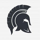 Gladiator, Trojan hat, Spartan Helmet silhouette, Greek warrior - legionnaire heroic soldier. vector poster