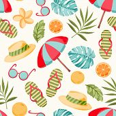 Vector seamless summer pattern with tropical vacation elements, pal leaves, flowers. Best for summer party. poster