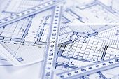 metric folding ruler and architectural drawings of the modern house poster
