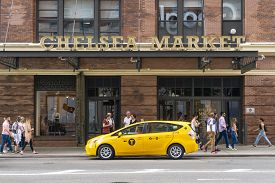 New York, Usa - May 27, 2018: People Visiting Chelsea Market In New York City. It Is A Food Hall And