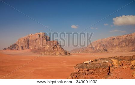 Picturesque Top View Nature Landscape Photography Of Wadi Rum Desert Middle East Touristic Heritage