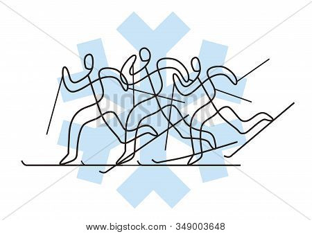 Illustration Of Three Nordic Skiing Competitors With Snow Flake Symbol On Background. Vector Availab
