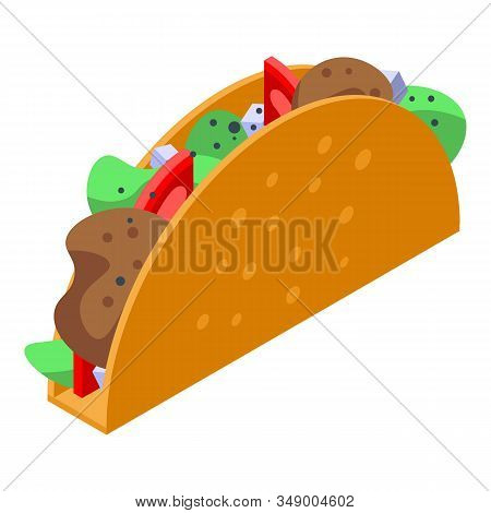 Mexican Tacos Icon. Isometric Of Mexican Tacos Vector Icon For Web Design Isolated On White Backgrou
