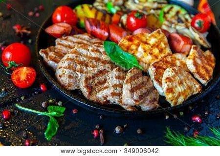 Assorted Delicious Grilled Meat With Vegetable. Mixed Grilled Bbq Meat With Vegetables. Beef, Pork,