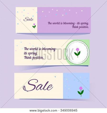 Set Of Flyers Or Banners In Gentle Colors With Butterflies And Tulips. Label With Place For Text, Me