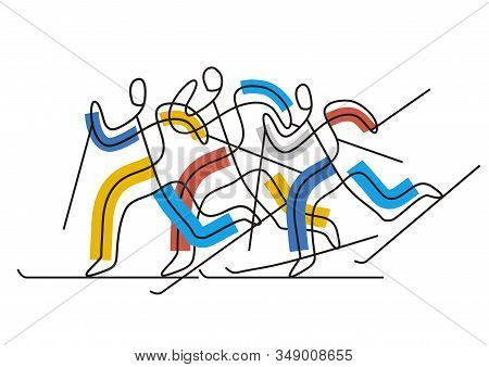 Cross-country Skiing Competition, Line Art Stylized. Illustration Of Three Nordic Skiing Competitors