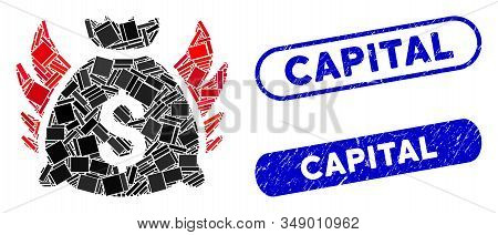 Mosaic Angel Invest Bag And Corroded Stamp Seals With Capital Text. Mosaic Vector Angel Invest Bag I