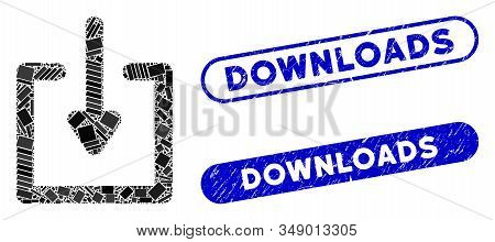 Mosaic Download And Distressed Stamp Seals With Downloads Caption. Mosaic Vector Download Is Formed