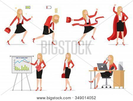 Set Of Flat Style Icons Businesswoman In Different Situations, Green And Red Battery Signs, Busy Fem