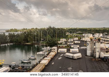 Hilo, Hawaii, Usa. - January 14, 2020: Ocean Port. Quay With White Fuel Tanks Surrounded By Matson S