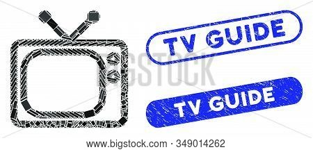 Mosaic Tv And Distressed Stamp Seals With Tv Guide Caption. Mosaic Vector Tv Is Created With Randomi