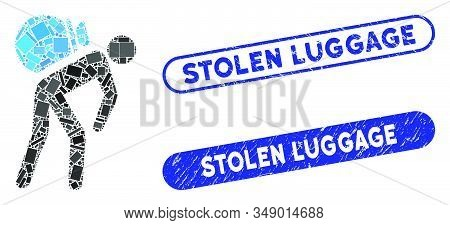 Mosaic Porter And Distressed Stamp Seals With Stolen Luggage Phrase. Mosaic Vector Porter Is Designe