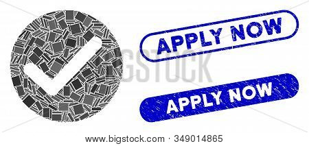 Mosaic Apply And Corroded Stamp Watermarks With Apply Now Phrase. Mosaic Vector Apply Is Created Wit