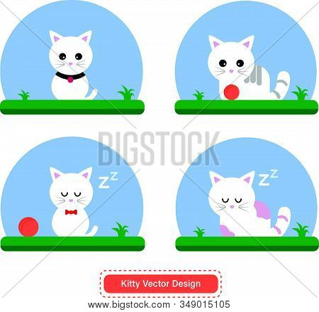 Cute Cat Or Kitty Vector For Icon Templates Or Presentation Background. Cat Or Kitty For Pet Shop Lo