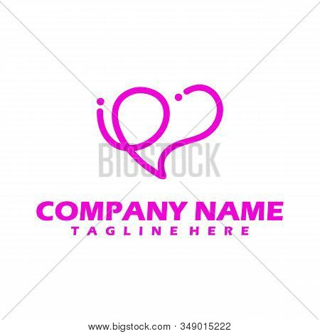 Heart Care , Pink Love Icon, White Heart Logo Isolated With Pink Background. Heart Icon Eps. Simple