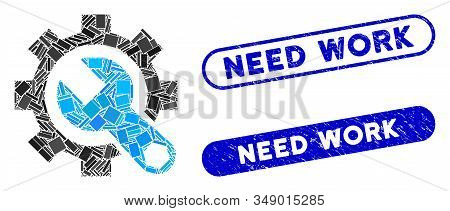 Mosaic Service Tools And Rubber Stamp Seals With Need Work Phrase. Mosaic Vector Service Tools Is Co
